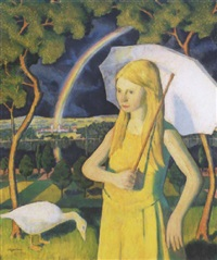 kislány napernyövel (girl with a parasol) by endre hegedüs