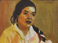 portrait of woman with braid by henry balink
