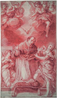betender papst gregor, von engeln umgeben by innocenzo tacconi