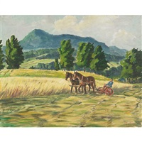cutting the hay, august by gordon edward pfeiffer