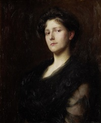 portrait of a woman in black by frederick george swaish