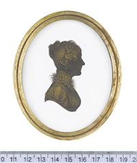 a lady, profile to the right, wearing dress with short gathered sleeve, frilled tulle to the high collar and pendent earring by john m. field