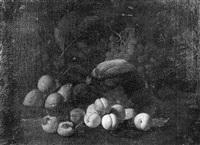nature morte aux abricots et figues sur un entablement by aniello ascione