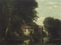 lavandières près du moulin by albert tibule furcy de lavault