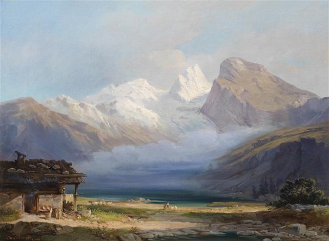 gletscher parthie - motiv aus dem oetzthal by josef arnold the elder
