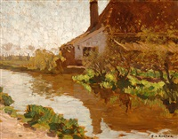 farm on a canal by antonie louis koster