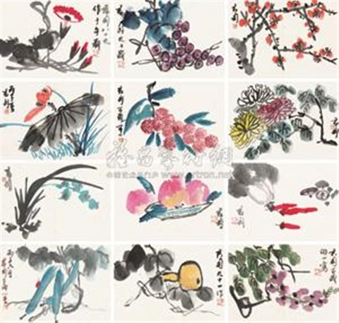 花卉蔬果册 flower album w12 works by qian juntao