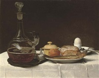 still life with bread, a kipper, an egg and a decanter of ale on a table with a white linen table-cloth by george smith