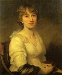 portrait of a woman seated, wearing a white dress and holding a book by joseph allen