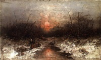 sunset in winter by désiré thomassin renardt