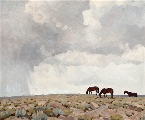 northern arizona horses grazing by don louis perceval