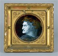 dante alighieri de profil, couronné de laurier (after raphael) by claudius marcel popelin-ducarre