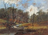 winter river landscape by archibald kay