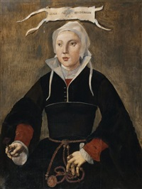 portrait de margareta huy hopcooper (in 3 parts) by maerten jacobsz van heemskerck