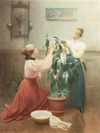 cleaning the rubber plant by george arthur gaskell