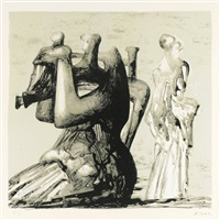 mother and child with light background (c. 435) by henry moore