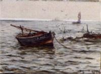 fishing boat at anchor by james macmaster