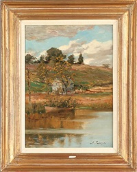 landscape with house by the lake by lawrence carmichael earle