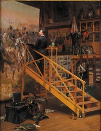 édouard detaille dans son atelier, peignant le célèbre tableau la charge du 4ème hussards by basile lemeunier