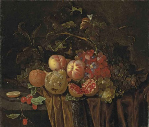 an open pomegranate, peaches, grapes, berries, a pear and clementines, with insects on a partly draped stone ledge by abraham mignon