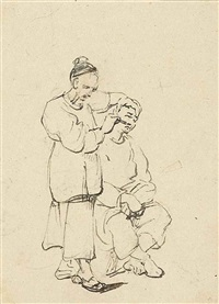 sketches of a chinese barber and street vendors (4 works) by george chinnery