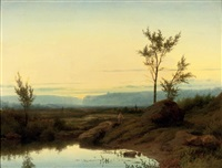 fishermen near a pond at sunset by cornelis lieste