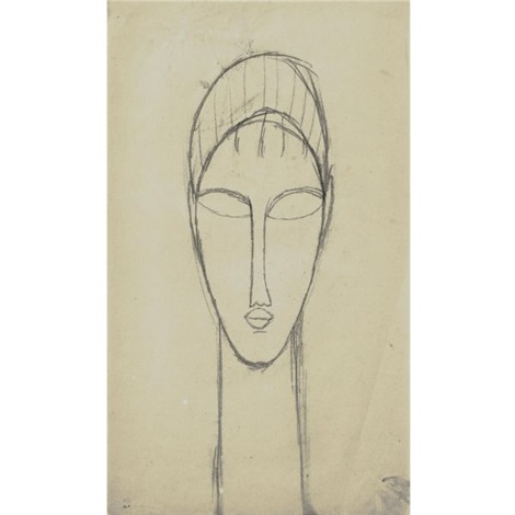 tête de face by amedeo modigliani