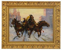 troika on red square in old russia by a. sokolov