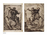 marcus curtius leaping on horseback into the abyss (recto); further studies of the same (verso ) by jacques de gheyn ii
