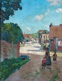 route de village animée by alfred swieykowski