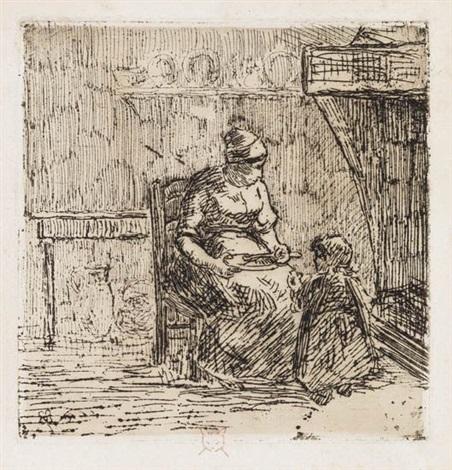 paysanne donnant à manger à un enfant by camille pissarro