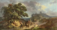 landscape with a military convoy by johannes (jan) tavenraat