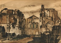vue des ruines de l'abbaye d'orval by paul delvaux