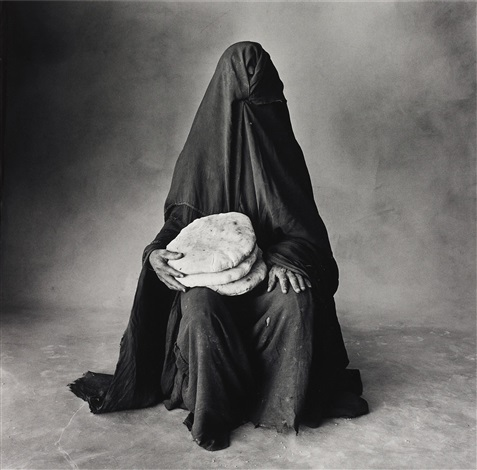 woman with three loaves, morocco (b) by irving penn