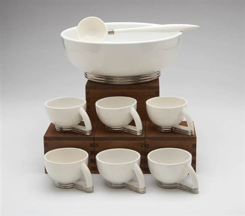 punchbowl and cups set of 7 wladle and box by paul schreckengost