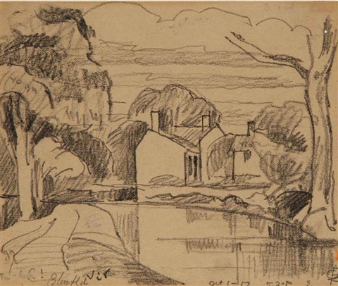 sketch of a house alongside a lake another 2 works by oscar florianus bluemner