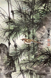 竹林小鸟 镜片 设色纸本 by chen peiqiu