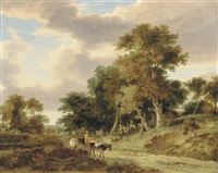 view in the valley of the yare, with a drover and cattle on a track by george vincent
