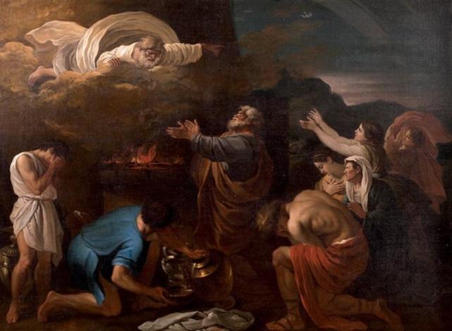 le sacrifice de noé by nicolas poussin