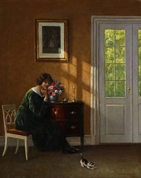 interior with a woman by hans hilsoe
