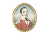 an officer, wearing scarlet coat with buff facings and standing collar, silver buttons and epaulette, white chemise and black stock by british school (19)
