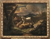 paesaggio con pastorella in riposo e armenti; paesaggio con pastore e pastorella con armenti (2 works) by pieter mulier the younger