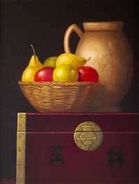 provencale jug and fruit on a chinese chest by paul kavanagh