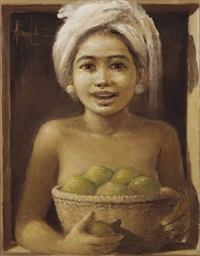 balinese girl with a basket of fruits by abdul aziz