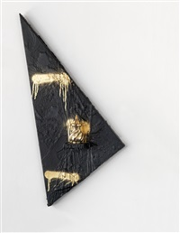 untitled triangle shelf by rashid johnson