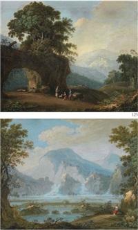 paesaggio con figure e gregge (+ paesaggio lacustre con figura; 2 works) by italian school- marches (18)
