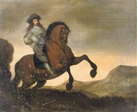 a portrait of a gentleman on a rearing horse in a landscape by pauwels van hillegaert