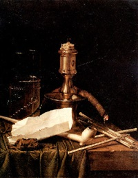a silver candlestick, a clay pipe, straws, a wick, tobacco, and a glass on a table draped with a green cloth by hendrick andriessen