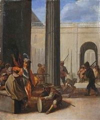 a kortegaardje: soldiers conversing amongst classical buildings by willem de poorter