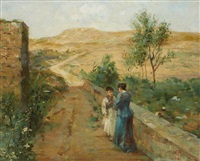 conversation on a country road by telemaco signorini